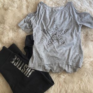 H&M Girls cold shoulder tee with star detail